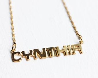 Vintage Name Necklace - Cynthia