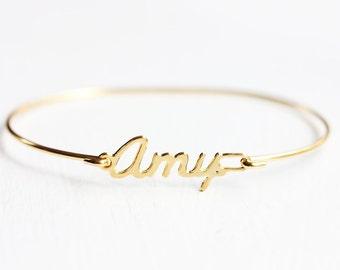 Amy Name Bracelet, Amy Bracelet, Amy, Gold Amy Bracelet, Hook Bracelet, Gold Bracelet, Gold Name Bracelet, Wire Name Bracelet, Cursive Name
