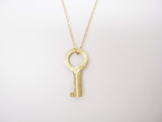 14K Gold Small Key Necklace