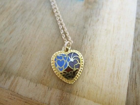 Heart Necklace Enamel, Cloisonné Heart Necklace,  Enamel Heart Gold, Heart Necklace Simple