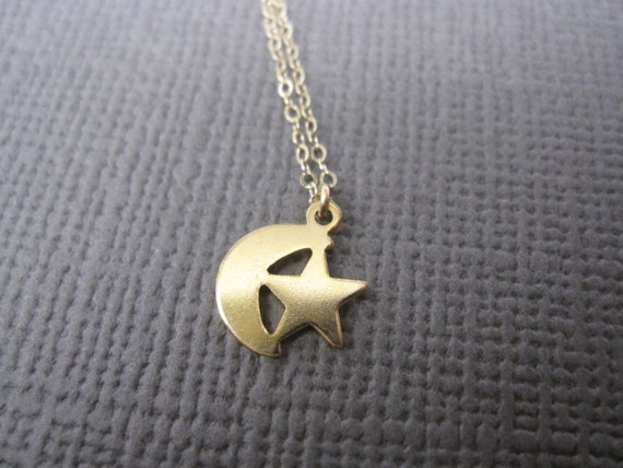 Gold Moon and Star Charm Necklace