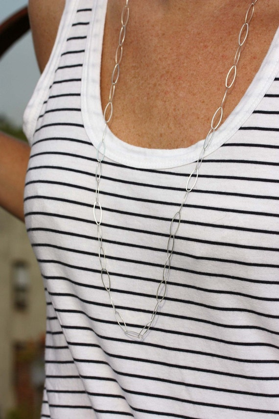 Long Silver Link Chain Necklace