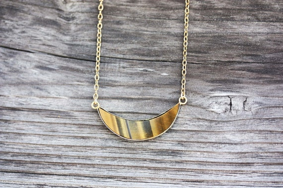 Tigers Eye Crescent Moon Necklace