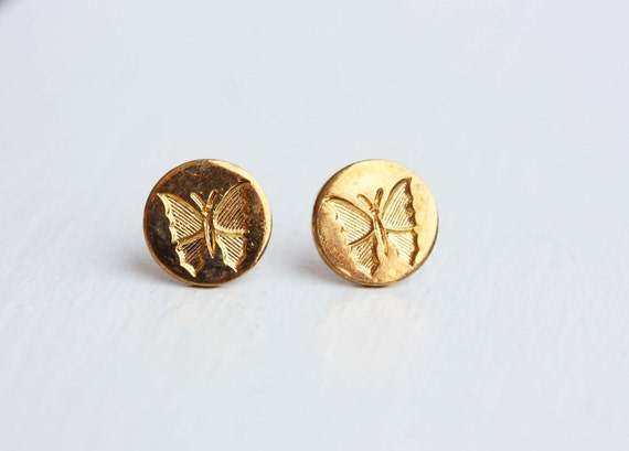 Vintage Butterfly Circle Studs