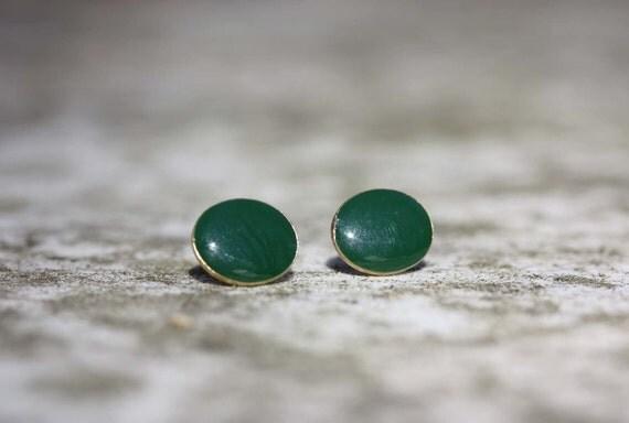 Sample Sale - Green Oval Studs