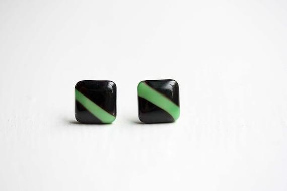 Green Stripe Studs