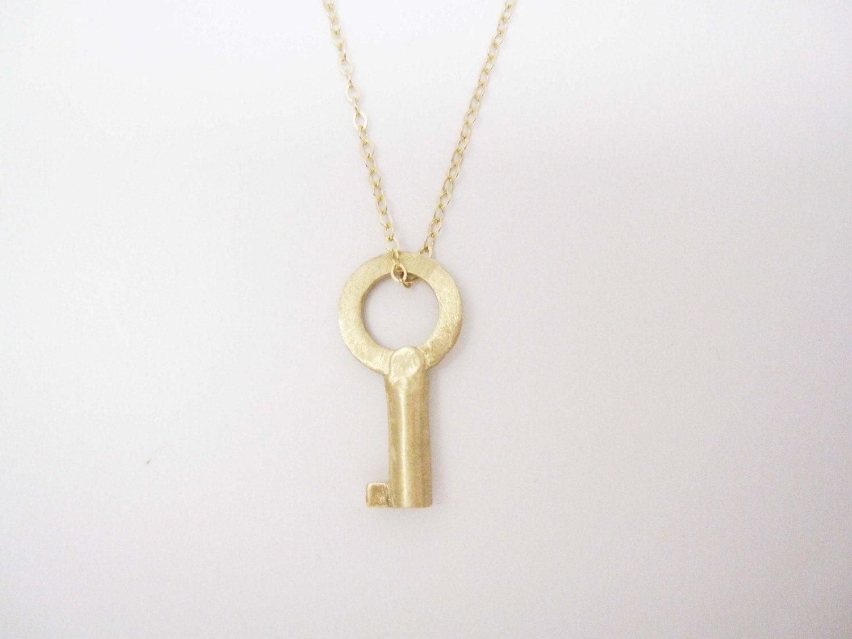 key necklace gold 14k gold key necklace gold key pendant
