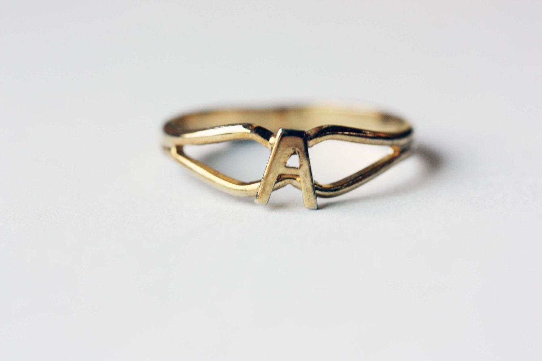 M Letter In Ring Gold Letter Rin...