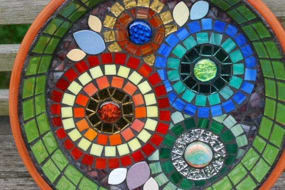 Flower Garden Bird Bath Stained Glass Mosaic Art