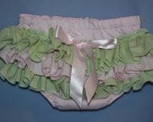 Lt pink and Lt green Sassy Fancy Ruffle Panty, Sweet Ruffle Pants, Ruffle Bloomers, Fancy Pants, Handmade Sassy Britches Ivory Photo Prop