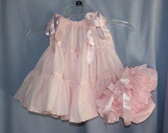 Heirloom Ruffle-tiered Pillowcase Dress  with sassy ruffle bloomers panty