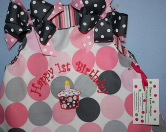 Michael Miller It's a girl Thing  Happy Birthday Dress/Sassy Ruffle Bloomers or pants with ruffles / Reversible Monogram Happy 1st birthday