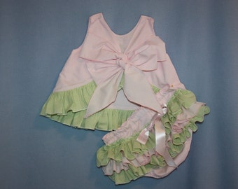 Lt. Pink and light Green Sassy rufflle Pinafore Top and Sassy Ruffle Panty, or Long Sassy Ruffle Pants Lt. Blue, lt Pink, Yellow, Any color