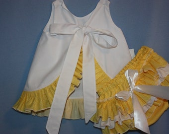 White and yellow polka dot Sassy ruffle Pinafore Top and Sassy  Ruffle Panty, or Long Sassy Ruffle Pants