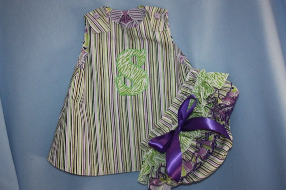 Birthday outfit Purple and Lime Green A-line top/dress with Sassy ruffle Bloomer or long ruffle Pants