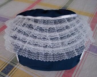 Navy Blue Ruffled Diaper Cover (Size medium 15 - 20 lbs) FREE USA SHIPPING