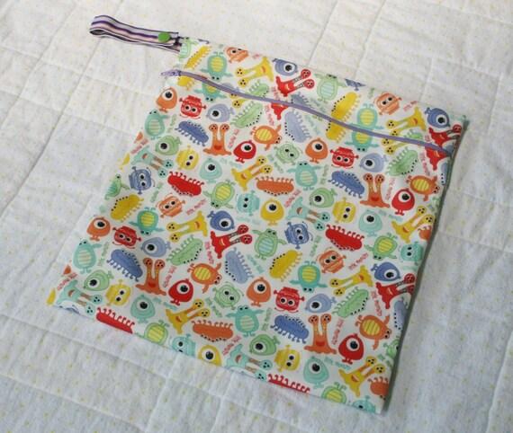 Boutique Little Monster Hanging Wet Bag - Zippered Cloth Diaper Wet Bag - Gender Neutral
