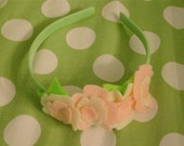 Pale Pink and Pearl felt flower headband