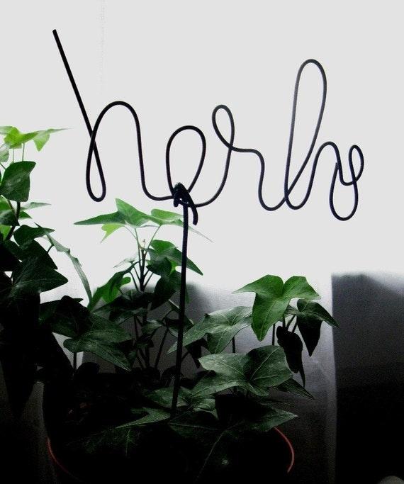 Rustic Wire Script Herbs Garden Marker -- mY sEcReT gArDeN --