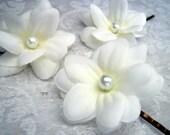 Triple Layered White Silk Stephanotis Hair Pins