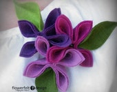 felt brooch tangerine brooch rose flowers flower woman pin wedding eco friendly purpure