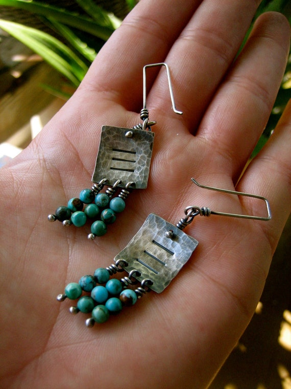 Sterling Silver Square Textured Tab Dangle Earrings with Round Turquoise Beads by Sierra Keylin Jewelry