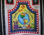 Teachers Color Our World Apron  and Coasters Fabric Panel