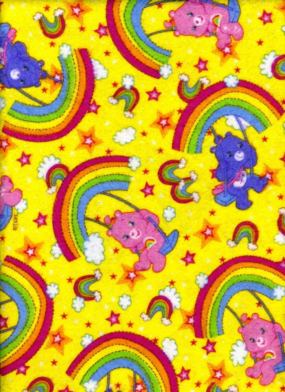 Rainbows and Care Bear Toss on Yellow Flannel Fabric - Sold by the Yard