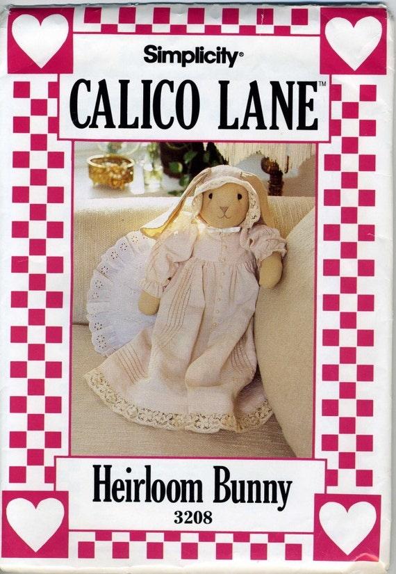Vintage Simplicity UNCUT 3208 Heirloom Bunny Sewing Pattern