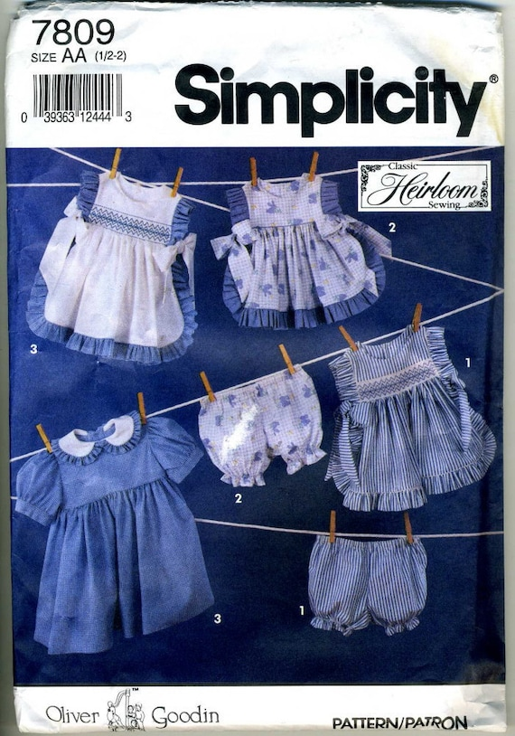 Vintage Simplicity 7809 UNCUT Heirloom Toddlers Dress and Pinafore with Smocking Sizes 1/2-2