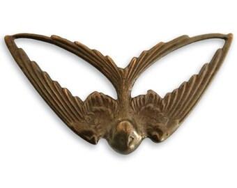 1 piece  21mm x 41mm brass Swooping Swallow by VINTAJ -  P260
