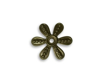 10 pieces Beaded Flower Washer Natural Brass by Vintaj Item HW0067