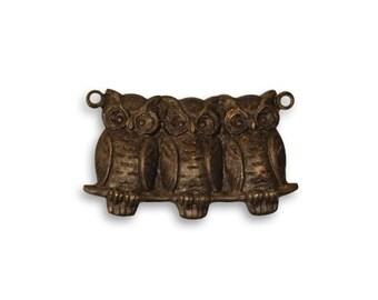 Set of 2 Brass Perched Owls Pendant by Vintaj Item DP0017 22x11.5mm