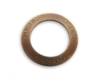 2 pieces DREAM Affirmation Ring, Brass, 23mm, Vintaj P121