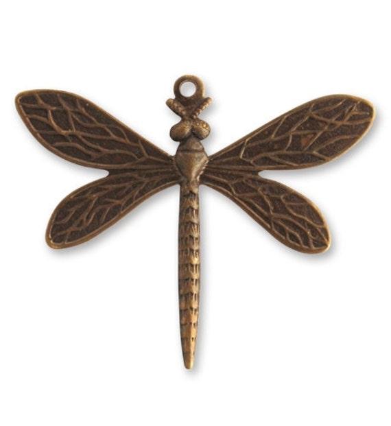 SALE: 2 pieces 35x30mm Queen Dragonfly Natural Brass, Vintaj Brass Dragonfly, Item P310