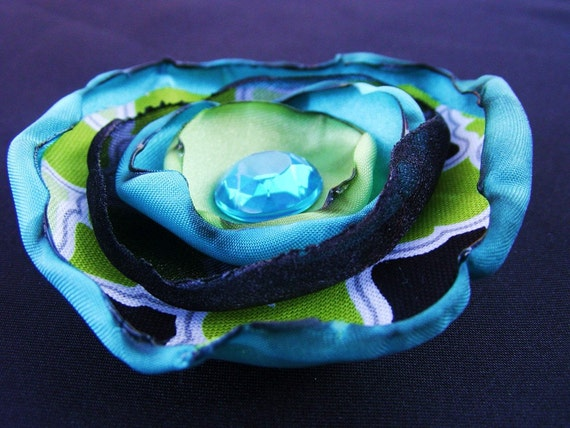 Fabric Flower Hairclip in Turquoise, Green, Black and White with Crystal