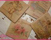Set of 4 Marble Stone Tile Coasters with Vintage French Labels, Angels and Roses
