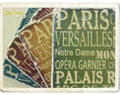 Set of 4 Jewel Toned French Subway Signs Marble Stone Coasters in Burgundy, Turquoise Blue, Green and Gold