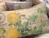 YELLOW Botanical ROSES French Postcard PILLOW with Crown Crested Bee and Tan and Green Postage Stamps