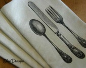 Set of 4 Soft Creamy Gold Cloth Napkins with Black Vintage Utensils-Knife Fork and Spoon