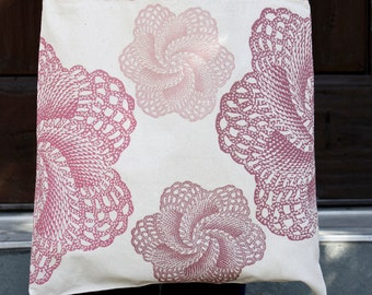 Natural Cotton Tote Bag with 2 Sided ALLOVER LACE PATTERN Vintage Colorized Pink Lace Doilies