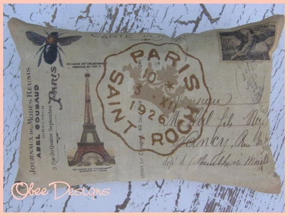Tan  Vintage French Postcard SACHET with Bee and Eiffel Tower