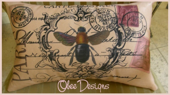Pink Vintage French Postcard Pillow with Bee