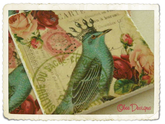 Set of  4 Vintage French Postcard with Roses, Postage Stamps and Crowned Blue Bird Images on Tumbled MarbleTile Coasters