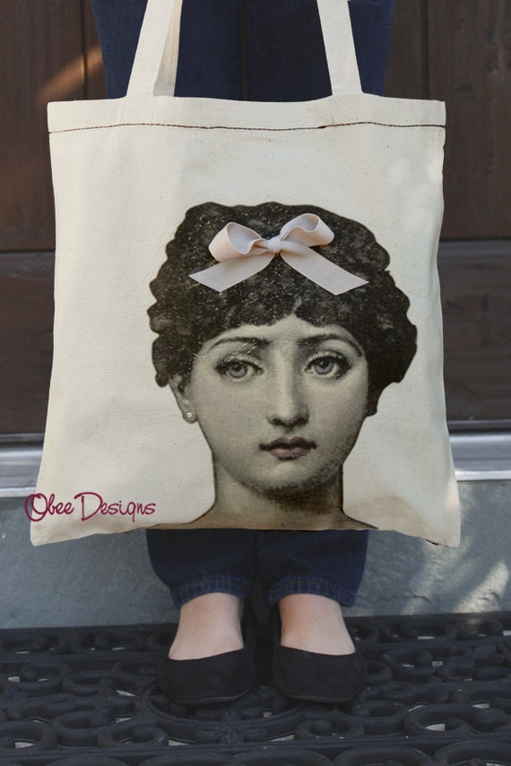Retro Style Victorian Woman Natural Cotton Tote Bag with Vintage Colorized Digital Illustration 3D Hairbow and Crystal Earring