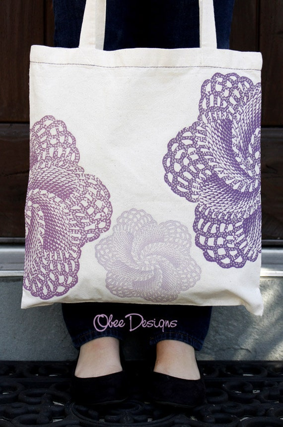 Natural Cotton Tote Bag with 2 Sided ALLOVER LACE PATTERN Vintage Colorized Purples and Lavenders Lace Doilies