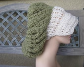 SUPER  OVERSIZED Slouchy Chunky Hipster Beret with Brim (trim off white and hat dusty green)