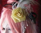 Latex Rose Fascinator  Flower Barrette With Ostrich Feather