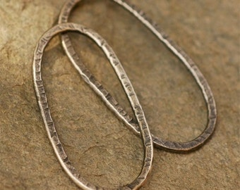 Rustic and Organic Artisan LONG OVAL LINK in Sterling Silver - 33mm long x 16mm wide