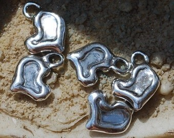 5 Artisan Handmade Small Heart Charms In Sterling Silver